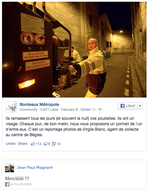 Post Facebook de Bordeaux Métropole