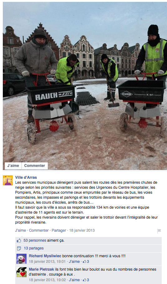 Post de la page Facebook d'Arras