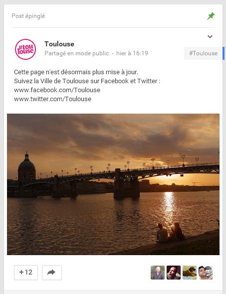 La page Google+ de Toulouse n'est désormais plus mise à jour