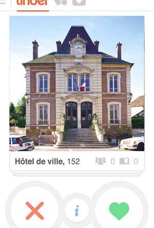 Capture écran d'une mairie sur le site de Tinder